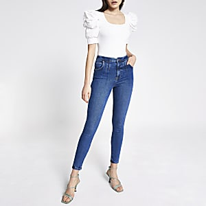 Hailey - Donkerblauwe jeans met hoge taille
