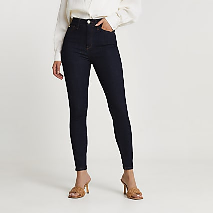 Dark blue high rise RI badge skinny jeans