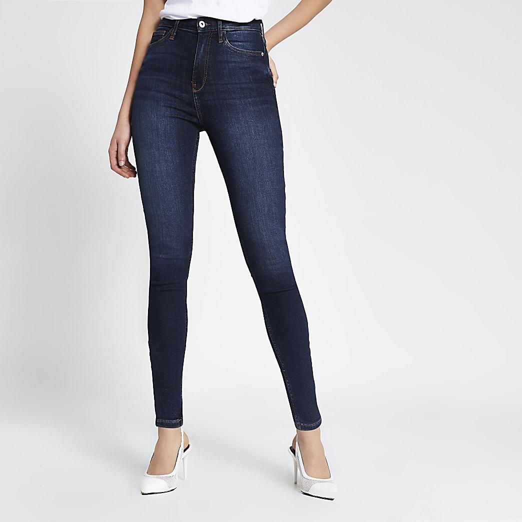 Dark blue high rise skinny jeans