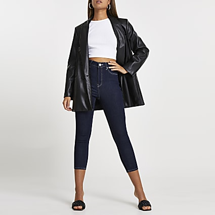 Dark Blue high waisted cropped skinny jeans
