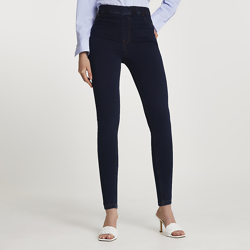 Dark blue high waisted jegging