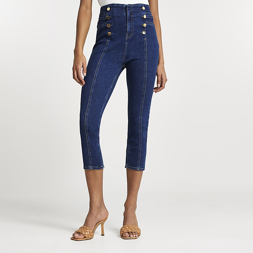 Dark Blue high waisted pedal pusher jeans