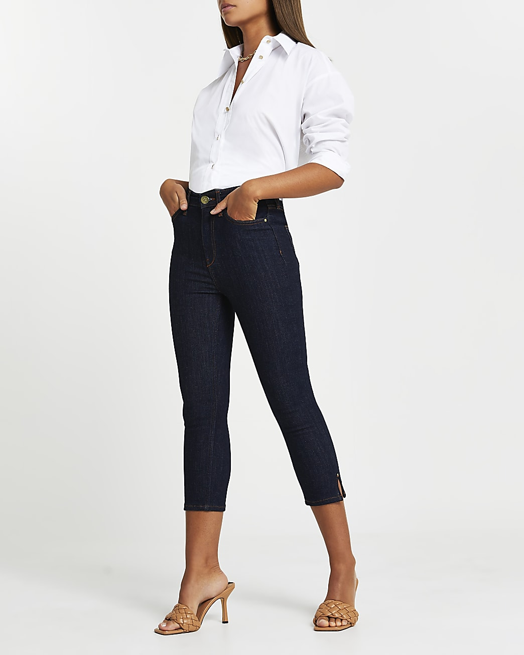 Dark Blue high waisted skinny cropped jeans