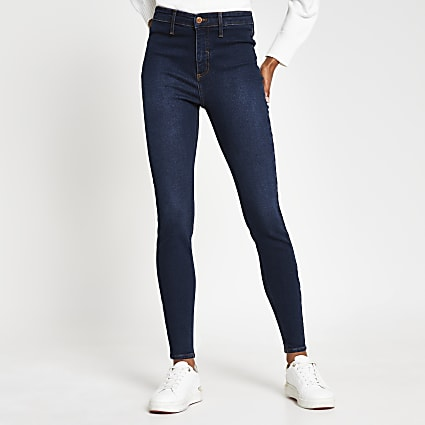 Dark blue high waisted skinny jean