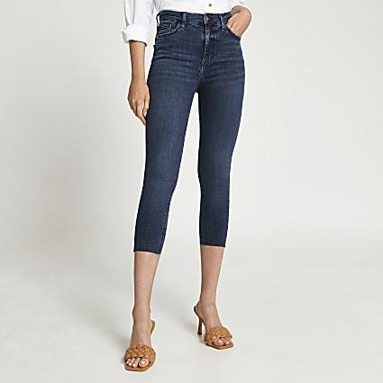 Dark blue high waisted skinny jeans