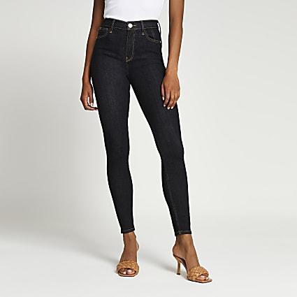 Dark Blue high waisted skinny sculpt jeans