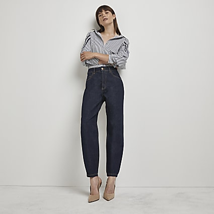 Dark blue high waisted tapered jeans