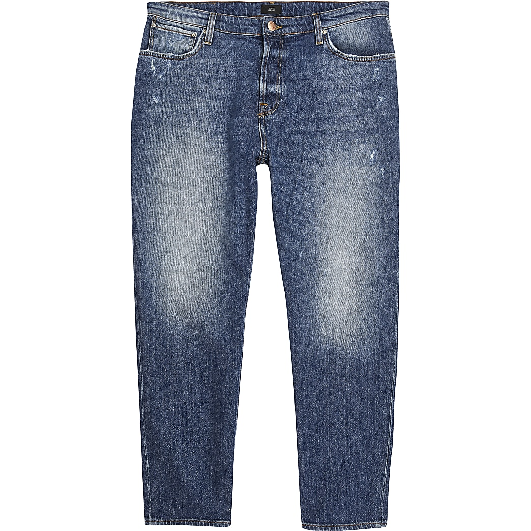 Dark blue Jay loose fit cropped jeans