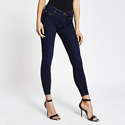 Dark blue low rise jean