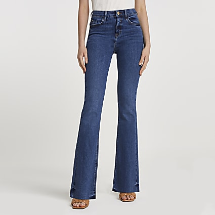 Dark blue mid rise flare jeans