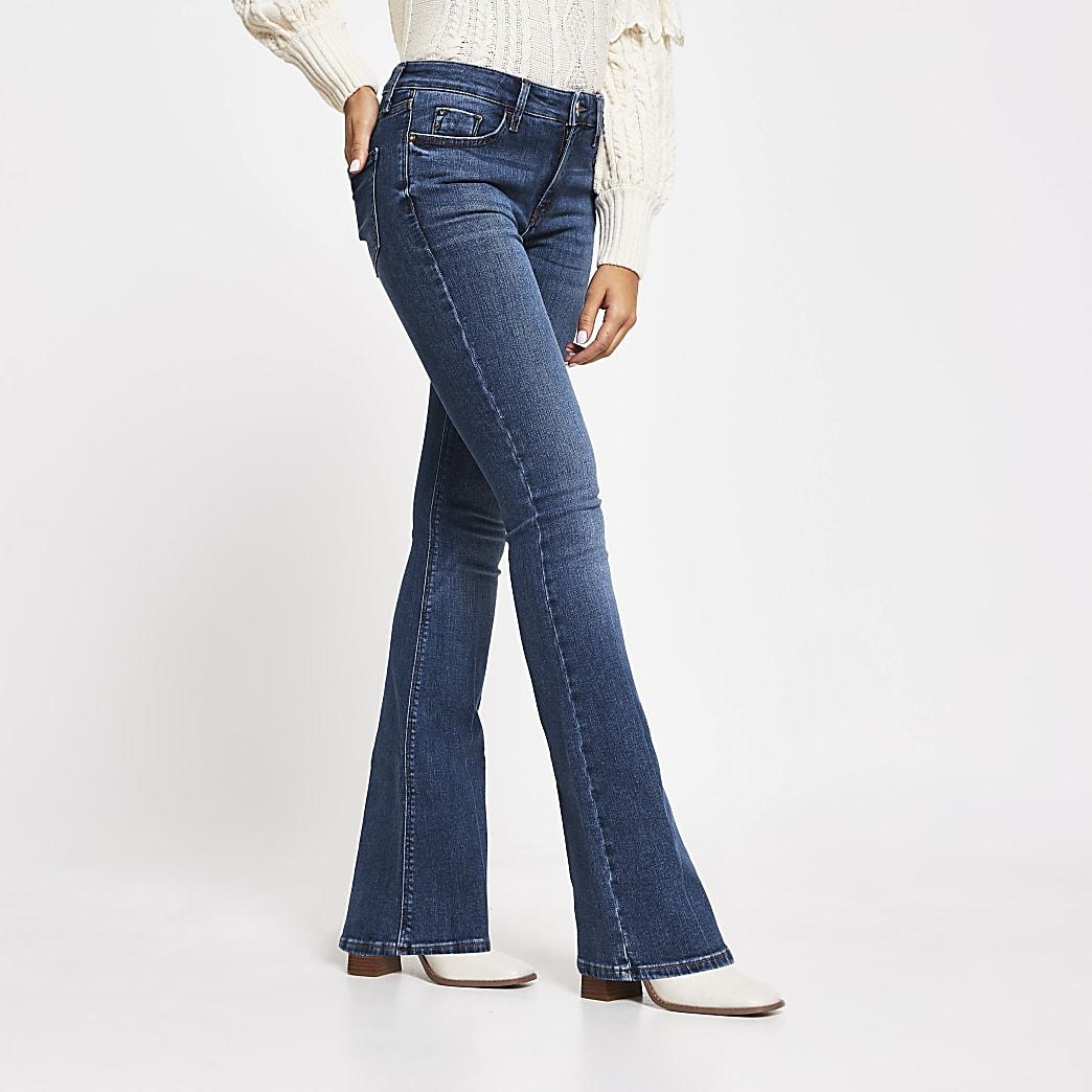 Dark Blue Mid Rise Flared Jean