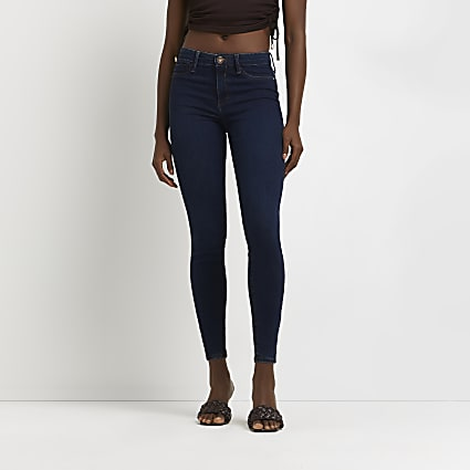 Dark blue mid rise Molly sculpt skinny jeans