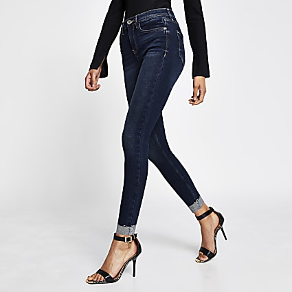 Dark Blue mid rise skinny jean