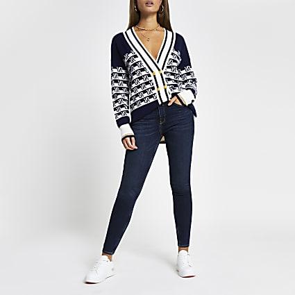 Dark Blue Mid Rise Skinny Jeans