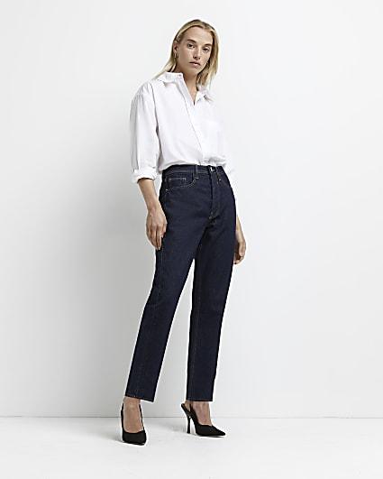 Dark blue mid rise stretch straight jeans