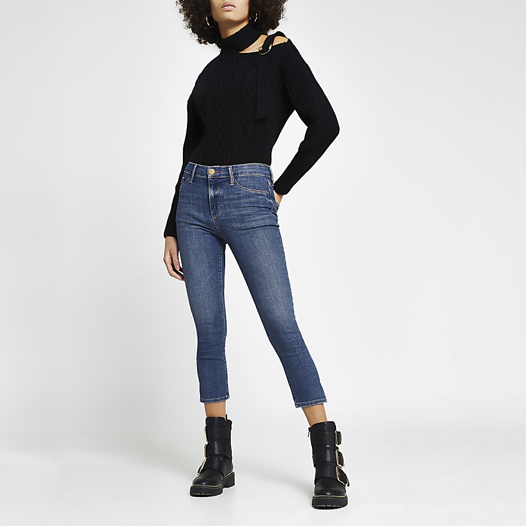 Dark Blue Molly Cropped Mid Rise Skinny Jean