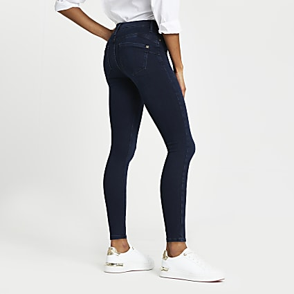 Dark Blue Molly mid rise bum sculpt jean