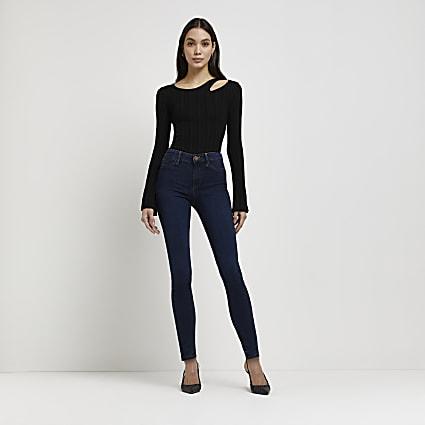 Dark blue Molly mid rise sculpt jeans
