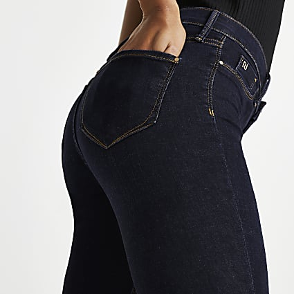 Dark Blue Molly Mid Rise Skinny Jeans