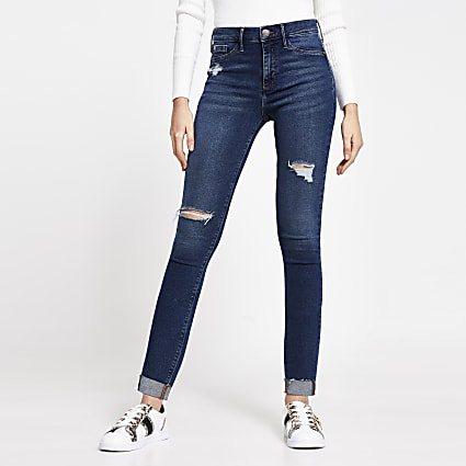 Dark Blue Molly Ripped Mid Rise Skinny Jean