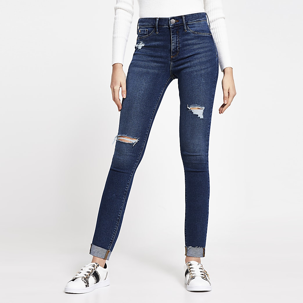Dark Blue Molly Ripped Mid Rise Skinny Jean