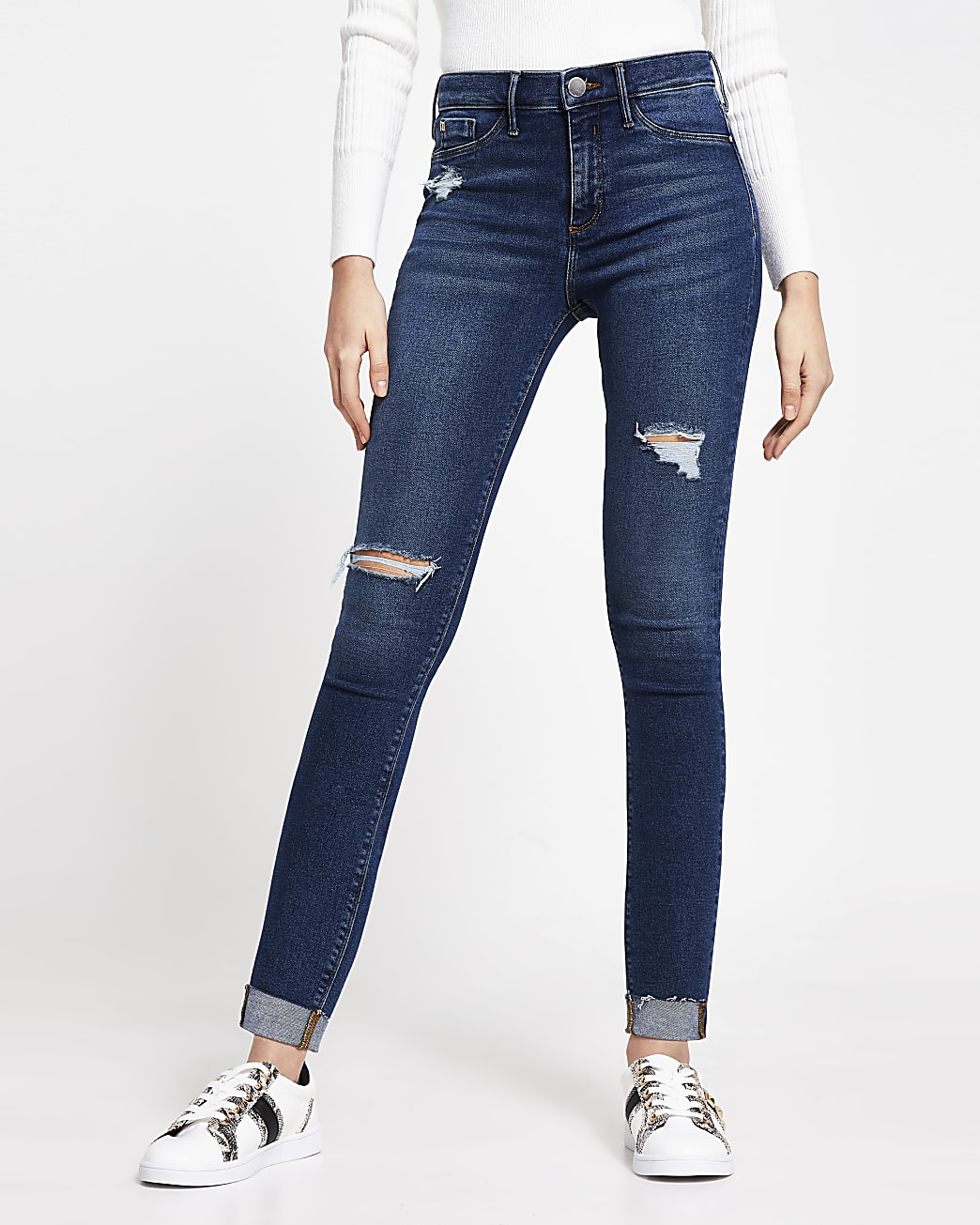 Dark Blue Molly Ripped Mid Rise Skinny Jeans