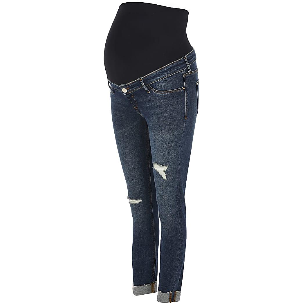 Dark Blue Molly ripped skinny maternity jean