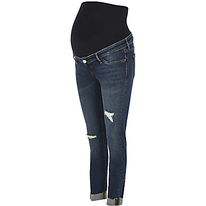Dark Blue Molly ripped skinny maternity jeans