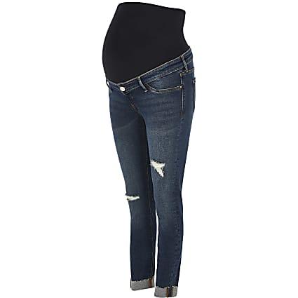 Dark Blue Molly ripped skinny maternity jeans
