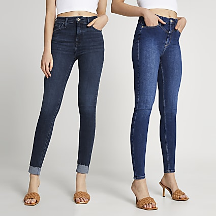 Dark blue multipack high rise jeans