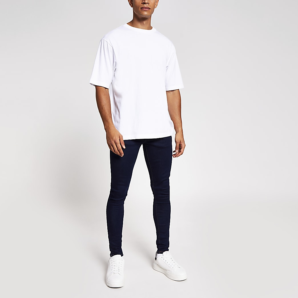 Dark blue Ollie spray on skinny jeans