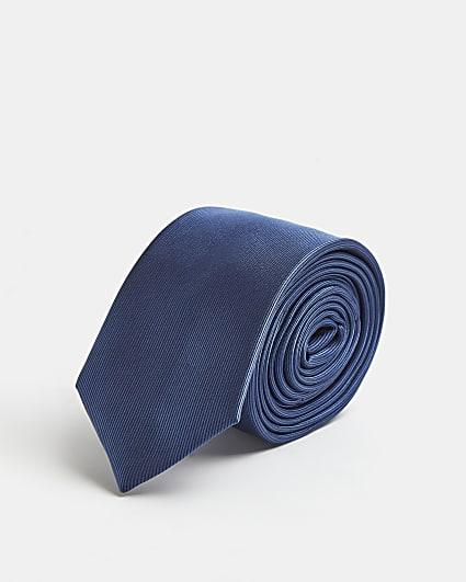 Dark blue plain tie
