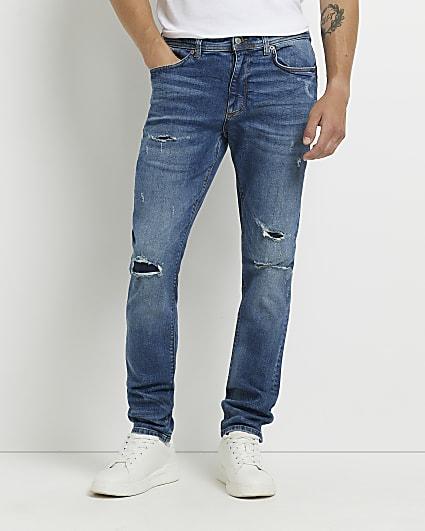Dark blue ripped skinny fit jeans