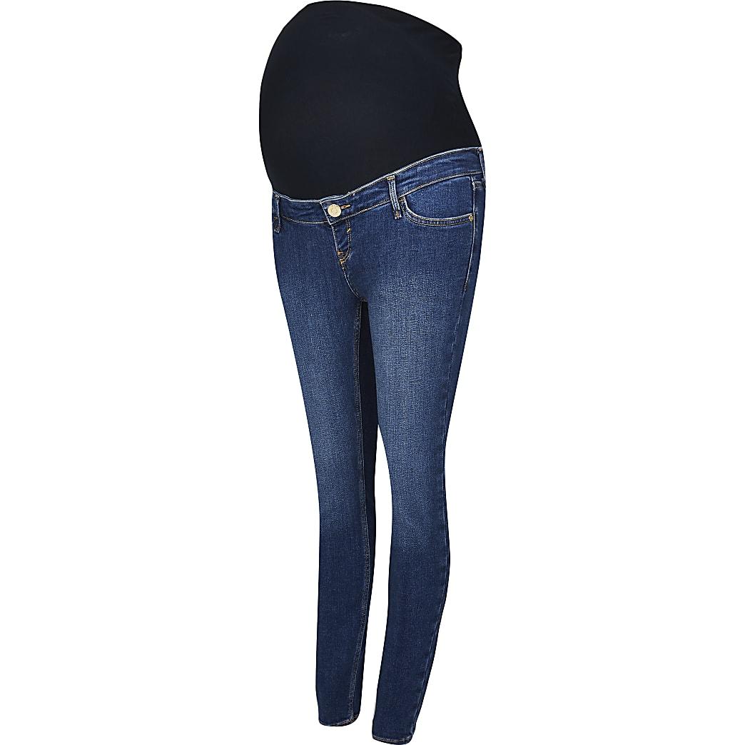 Dark Blue skinny maternity jeans