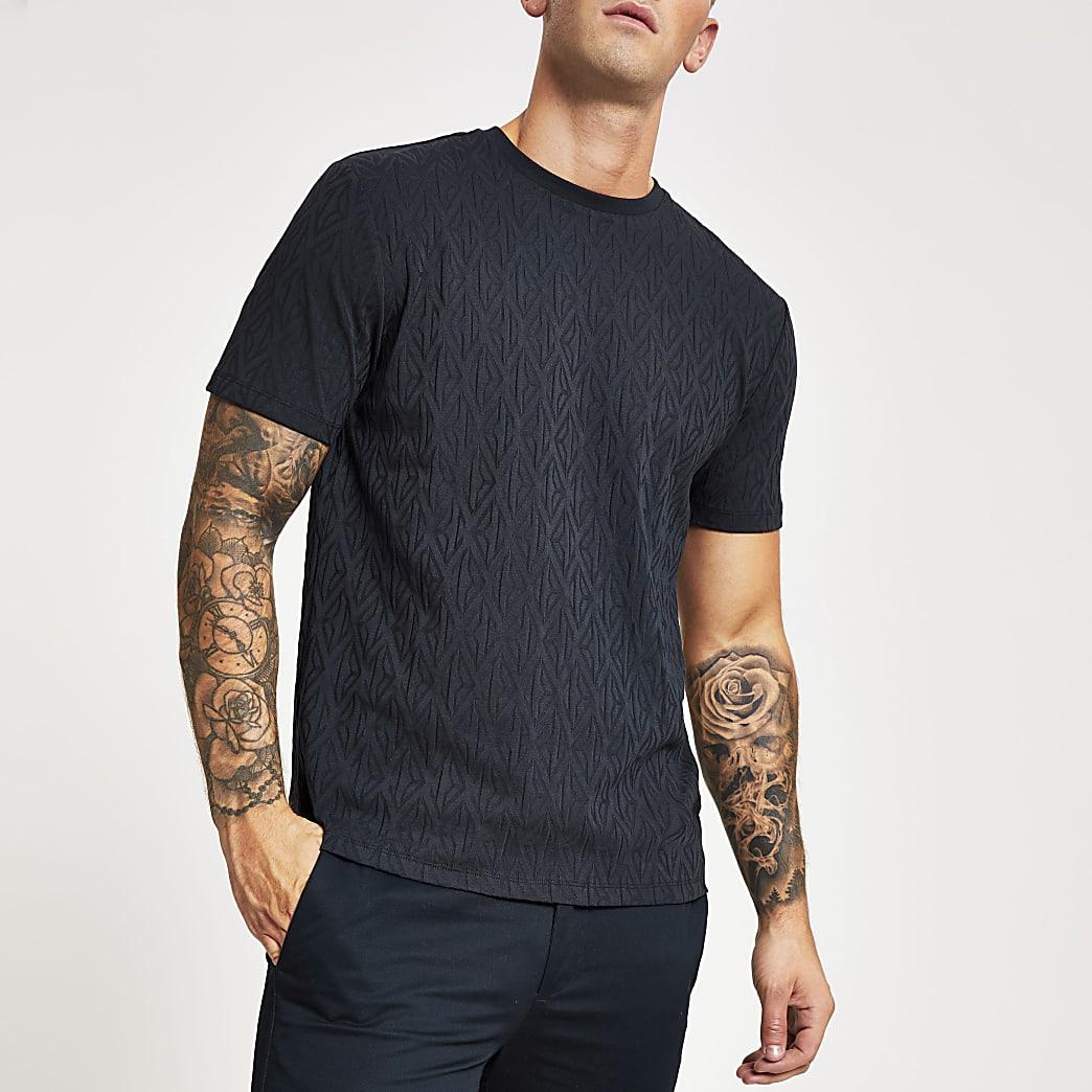 Donkerblauw slim-fit jacquard T-shirt