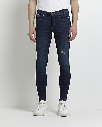 Dark blue spray on fit jeans