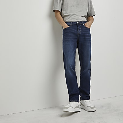 Dark blue straight fit jeans