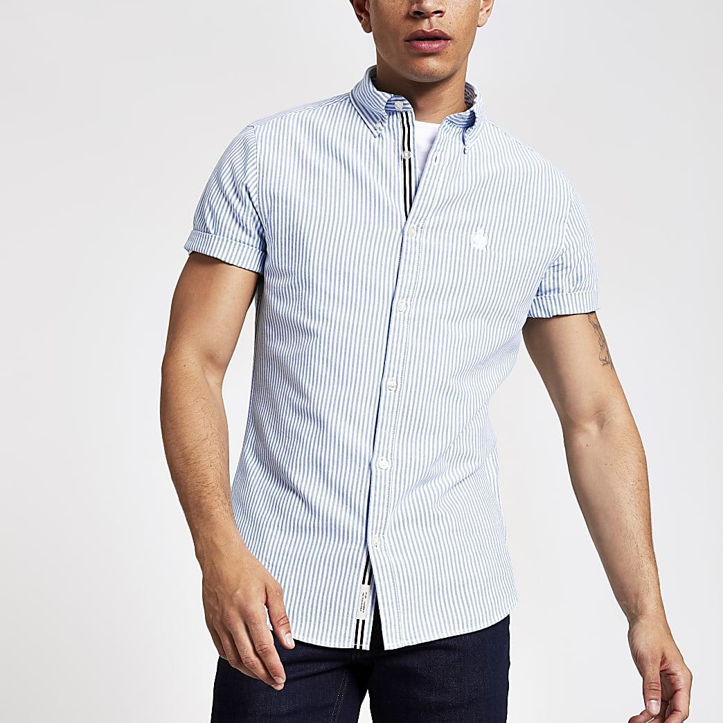 Donkerblauuw gestreept Oxford overhemd met standaard pasvorm