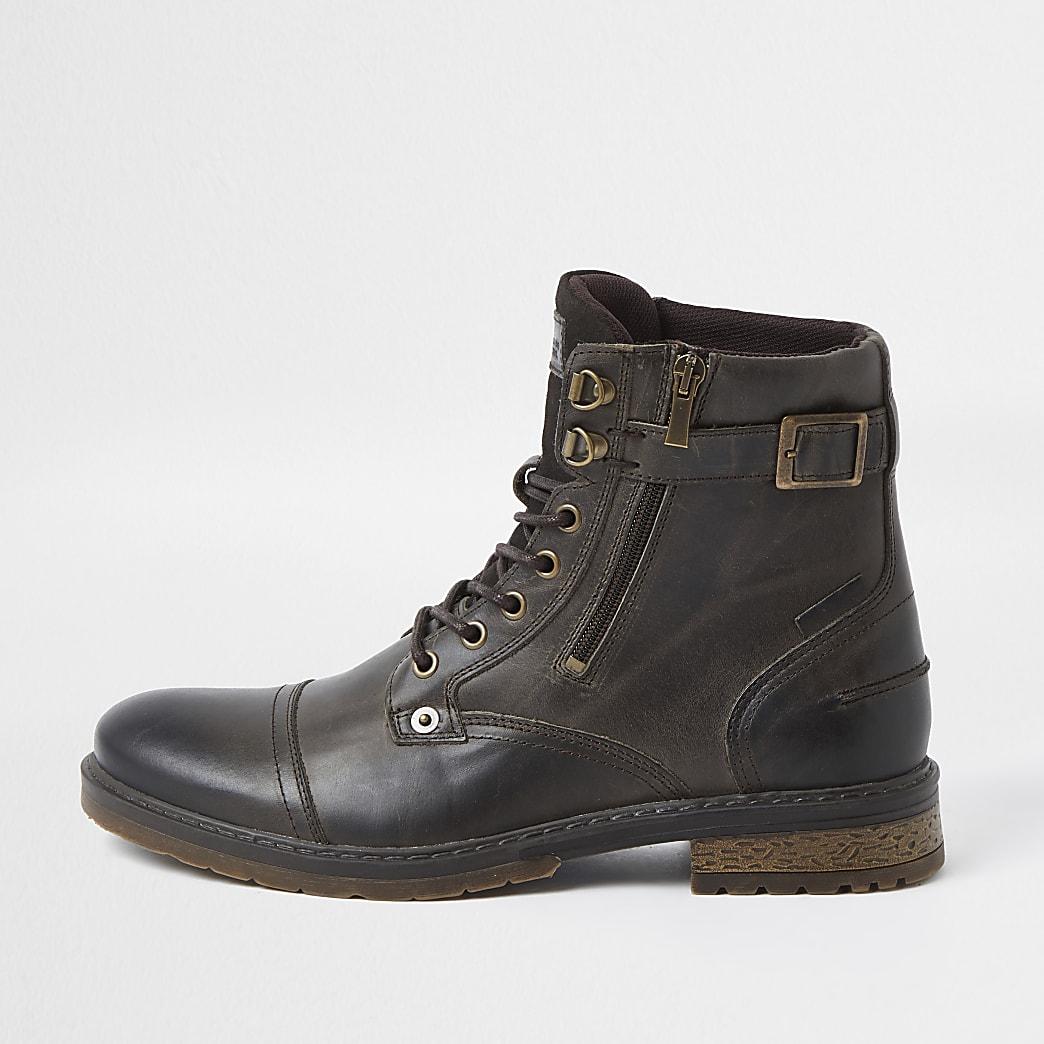 Dark brown leather buckle zip up boots