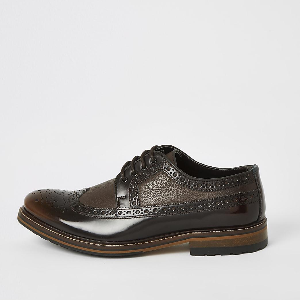 Dark brown leather embossed brogues