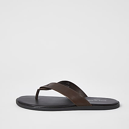 Dark brown leather flip flops