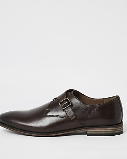 Dark brown leather monk strap shoes