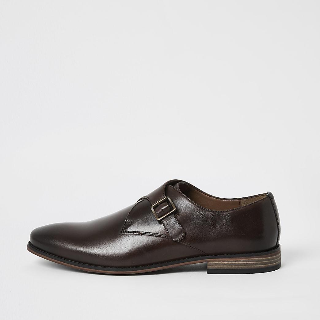 Donkerbruine leren schoenen met dubbele gesp