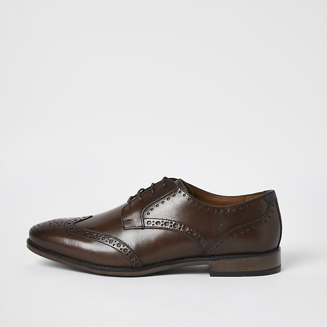 Dark brown leather wide fit brogue shoes