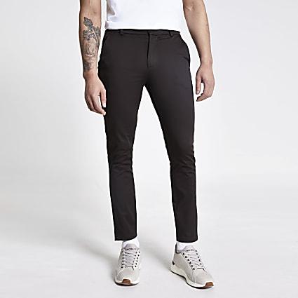 Dark brown skinny chino trousers