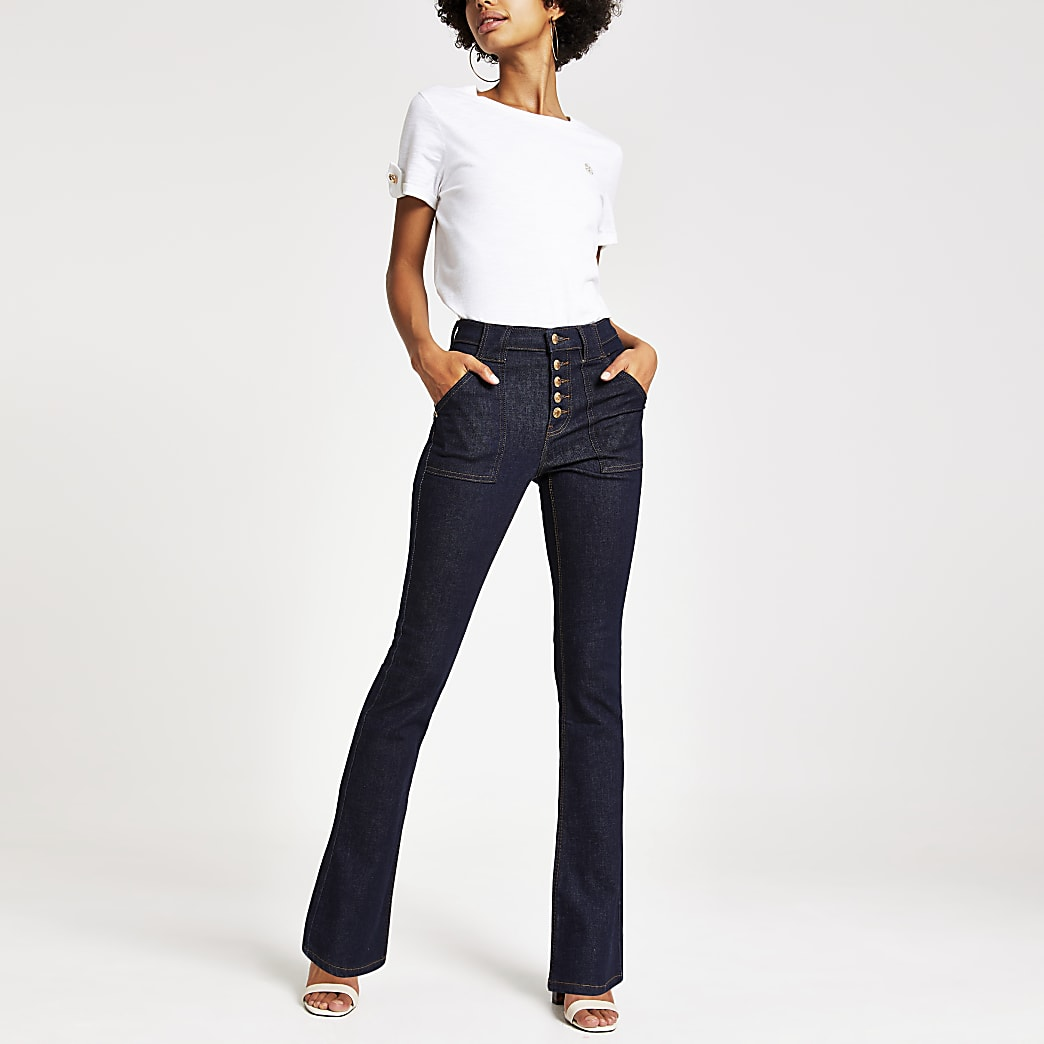 Dark denim bootcut utility jeans
