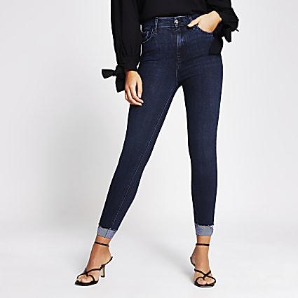 Dark denim high rise turn up jeans