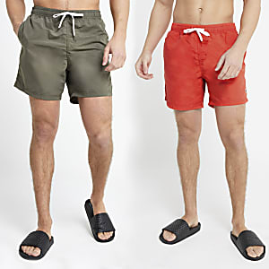 Dark green and red swim shorts 2 pack