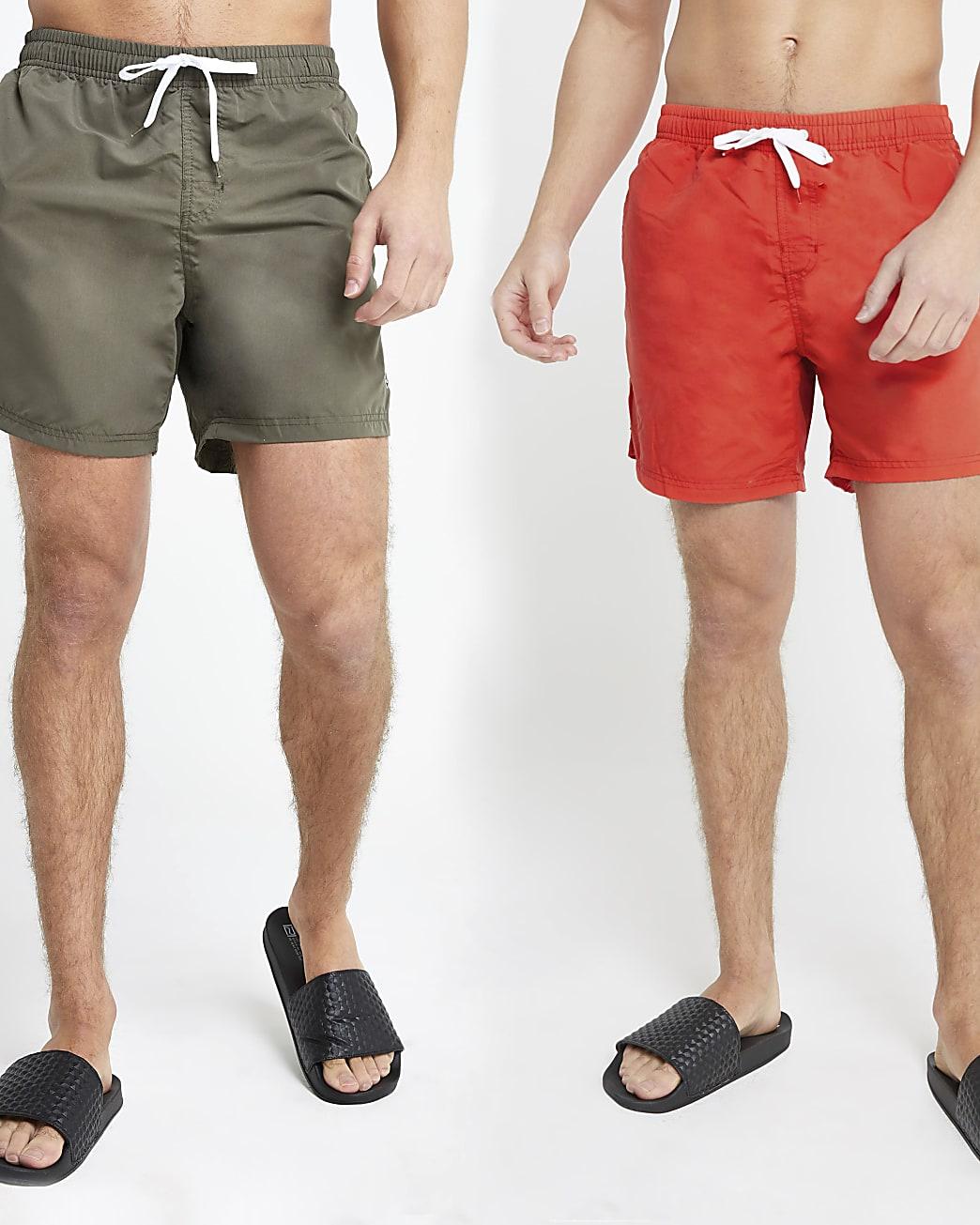 Dark green and red swim shorts 2 pack