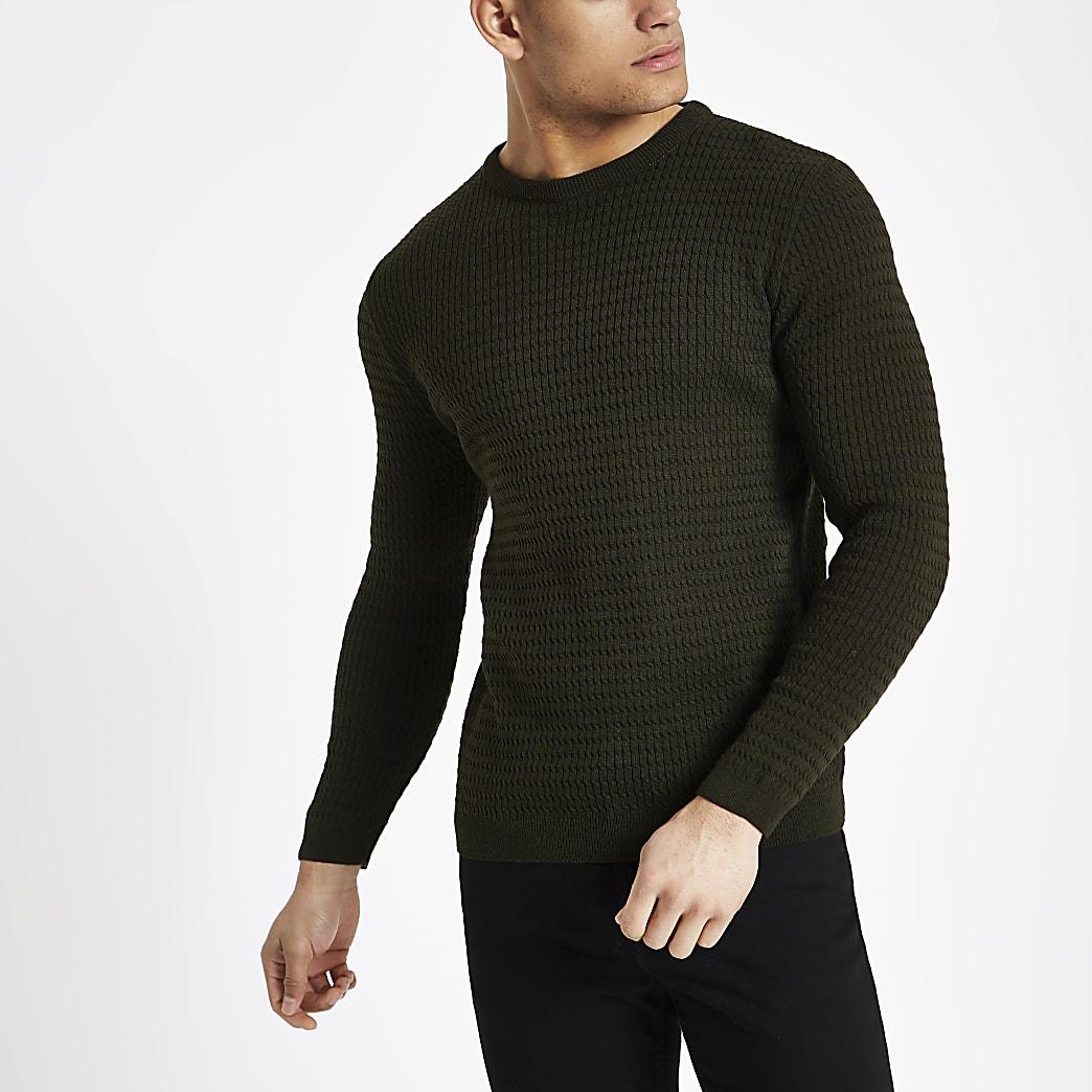 Dunkelgrüner Muscle Fit Pullover mit Zopfmuster